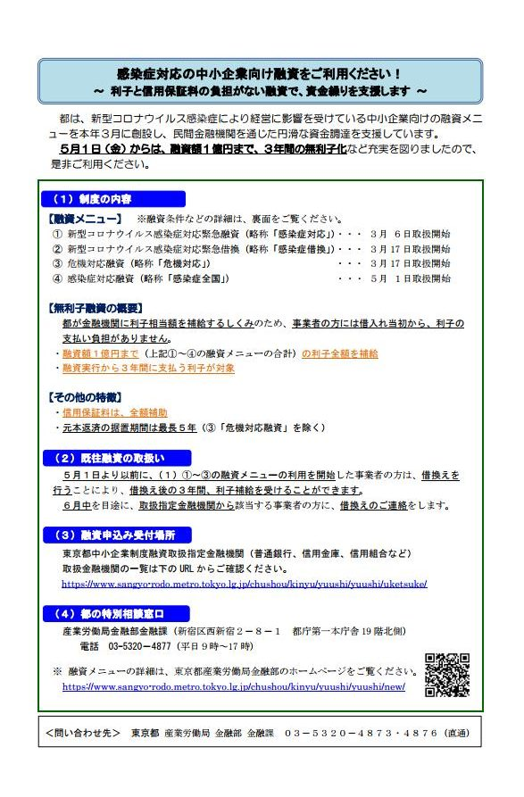 【融資】東京都コロナ関連融資一覧