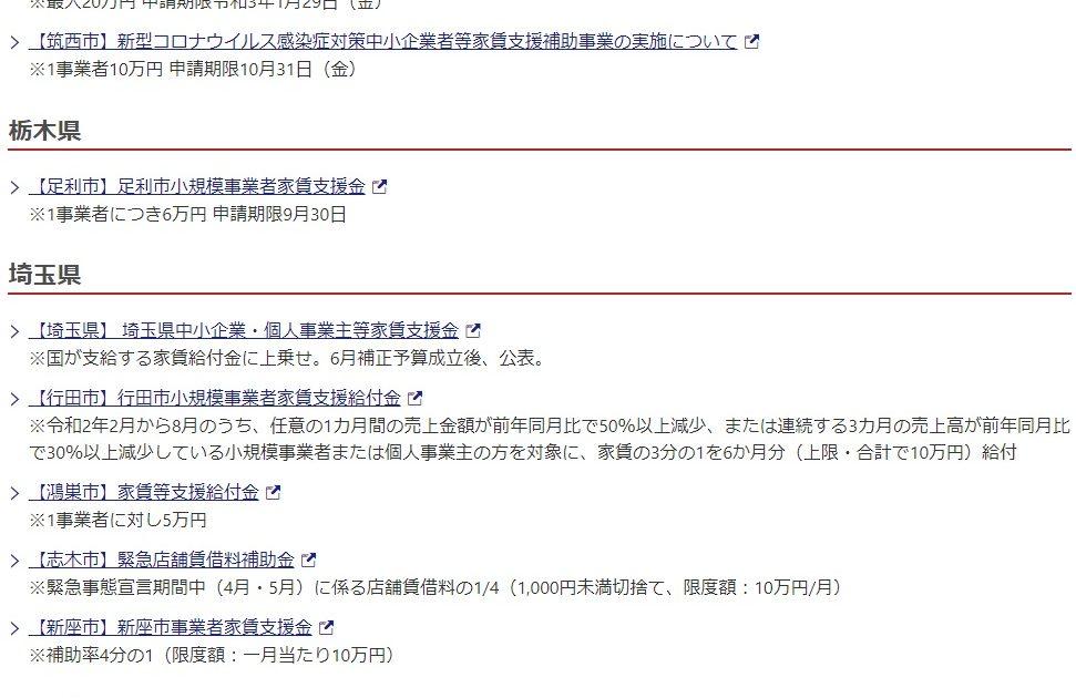 家賃支援金(都道府県別) 新型コロナウイルスに関連した地域の家賃に対する支援についてまとめています