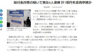 給付金詐欺の疑いで男女4人逮捕 計1億円を虚偽申請か